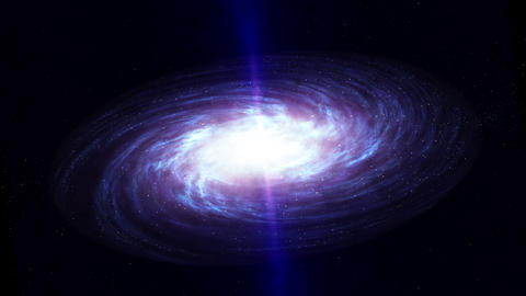Black Hole Inside Disk Spiral Galaxy Shooting Out Powerful Jets Of Radiation Animation