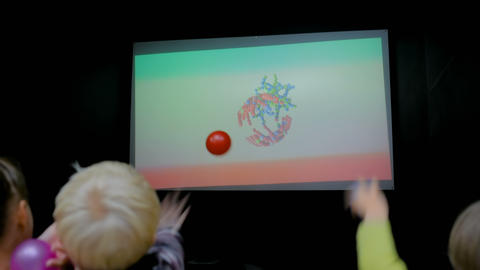 Children playing educational AR game Footage