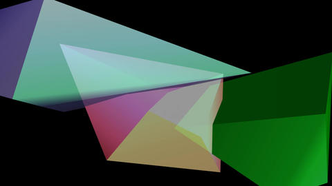 Multicolored polygonal 3d crystal shapes moving on black background GIF