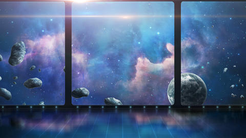 3D room with space scene, planet and asteroids Animation