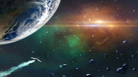 Earth planet with asteroids and spaceship Animation