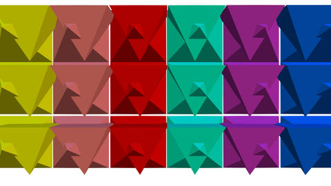 Multicolored geometric 3d shapes moving on white... Stock Video Footage