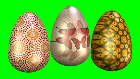 Beautiful easter animation with three multicolored eggs and Happy Eastern Animation