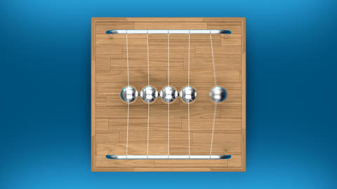 Looped top shot of Newton's cradle Animation