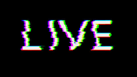 From the Glitch effect arises text LIVE. Then the TV turns off. Alpha channel Premultiplied - Matted Animation