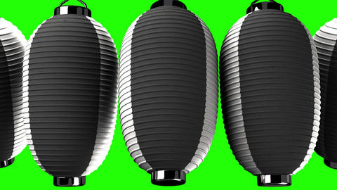 Black and white paper lantern on green chroma key Animation