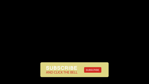 Subscribe and click the bell floating banner on transparent background, HD animation with alpha Animation
