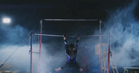 performance in gymnastics female gymnast in uneven bars Footage