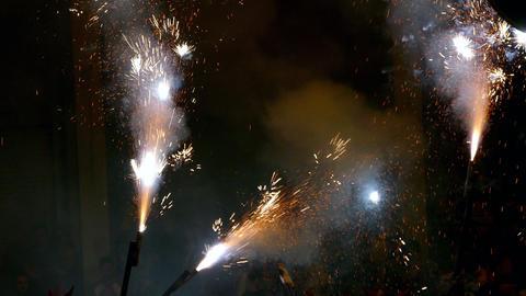 Fire Run (Correfoc) traditional celebration of Catalonia Footage