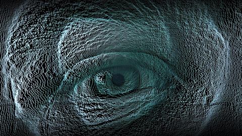macro shot of an eye of a Caucasian ethnic boy, digital effect representing Footage