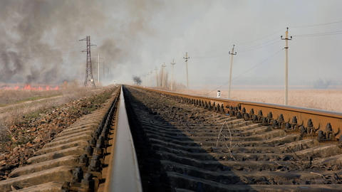 metal train rails, motion along, slow motion Archivo