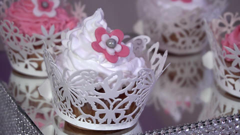 Festive dessert of whipped cream close-up Footage