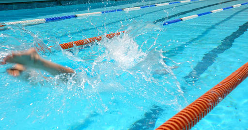 Male swimmer jumping into swimming pool 4k Live Action