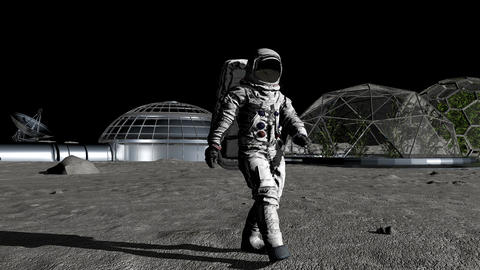 Sci-fi scene. The colony of the future on the moon. Astronaut walking on the moo Footage