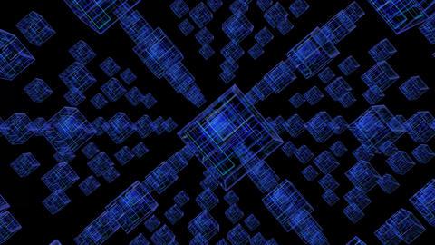Blue Tech Cubes Background Animation