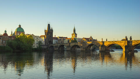 Prague time lapse with view of Charles Bridge in Prague, Czech Republic time lapse Footage