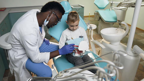 African male dentist using plastic teeth model for teaching little male patient Live Action