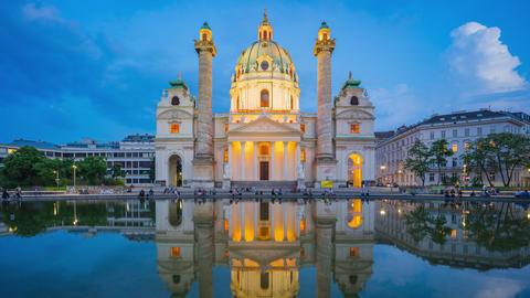 Karlskiche Church in Vienna city, Austria day to night time lapse Footage