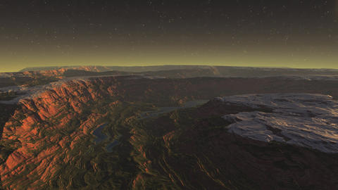 3D render of extraterrestrial landscape of night canyon…, Stock Animation