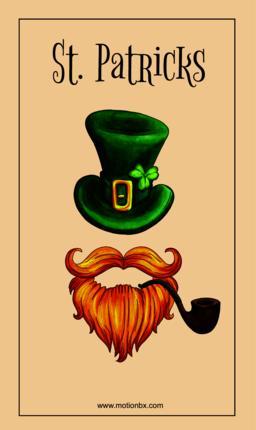 St. Patricks vector design. Leprechaun Hat, beard and pipe Vector