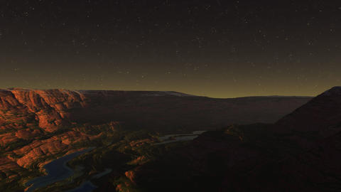 3D render of flight through the night extraterrestrial canyon Animation