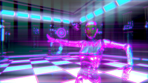 Dancing Female Robot Cyberclub Neon Animation Animation