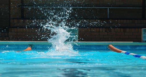 Female swimmer swimming inside pool 4k Live Action