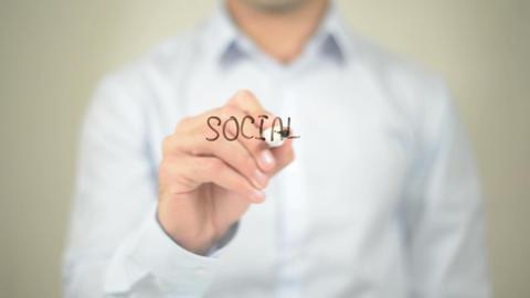 Social Marketing, Man Writing On Transparent Screen stock footage