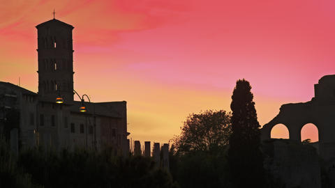 Basilica of Constantine at sunset Footage