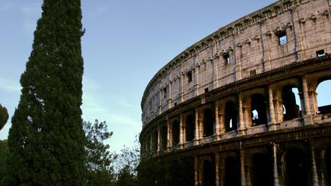 Taller side of Colosseum exterior Footage