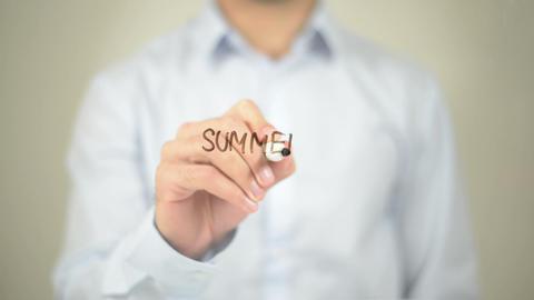 Summer Holidays, Man Writing on Transparent Screen Footage