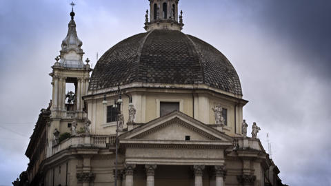 Exterior shot of domed building in the Piazza del Popolo Footage