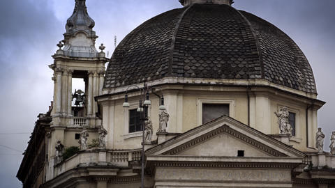 Exterior shot of domed building in Rome, Italy Live Action