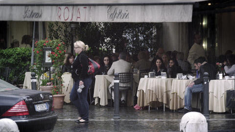 A little cafe on a street in Rome Live Action