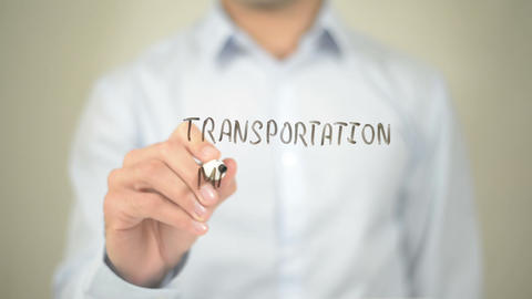 Transportation Management, Man Writing on Transparent Screen Footage