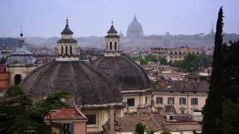 Twin churches of the Piazza del Popolo and St. Peter's Basilica Footage