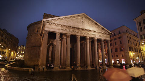 Time-lapse of Pantheon on a rainy night Footage
