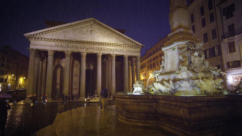 Pantheon and Piazza della Rotonda on a rainy evening Footage