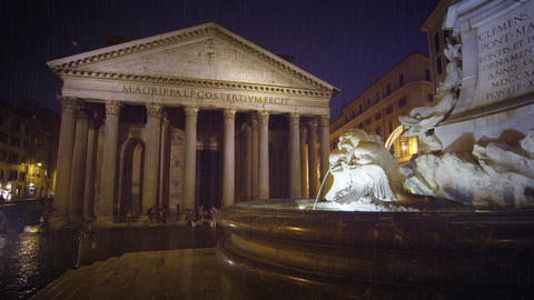 Reflection on Piazza della Rotonda with Pantheon in the background Footage