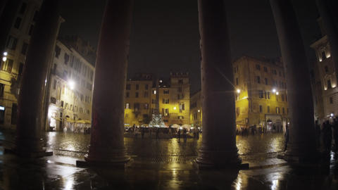 Pillars and square in front of the Pantheon Footage