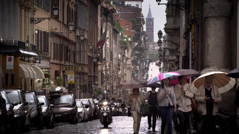 A drizzling day in a Roman street Footage