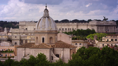 Roman rooftops featuring Sant' Agnese in Agone Footage