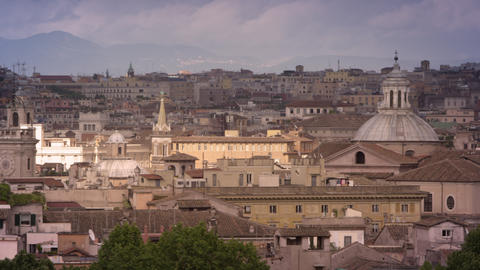 Pan of Roman skyline from Pincian Hill Footage