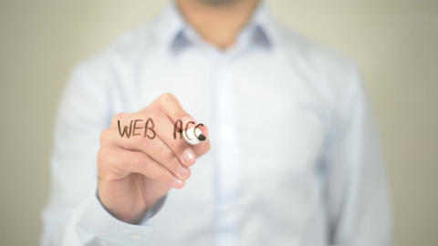 Web Accessibility, Man Writing On Transparent Screen stock footage