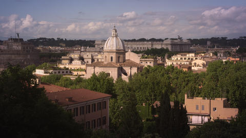 Panoramic shot of Rome skyline with Altare dell Patria Footage