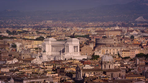 Aerial footage of Altare della Patria and rooftops of Rome Footage