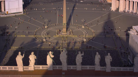 Statues overlooking the piazza of St Peter's Basilica Footage
