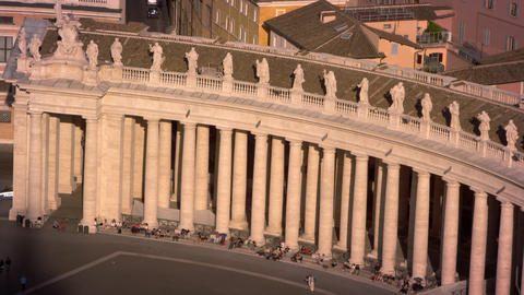 Curved row of columns lining the piazza of St Peter's Basilica Footage