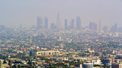 Panoramic view of Los Angeles from Mulholland Drive Footage