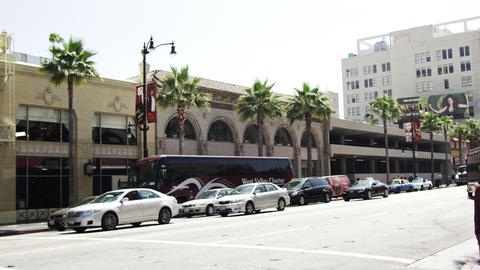 Sped-up shot of buildings along Hollywood Blvd. California Footage